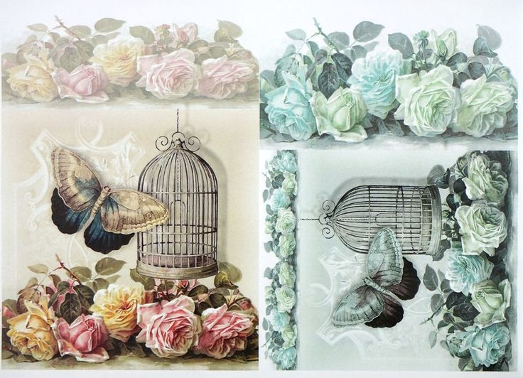 A/4 Classic Decoupage Paper Scrapbook Sheet Vintage Birdcages and Butterflies
