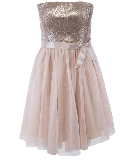 Champagne Strapless Tulle Dress