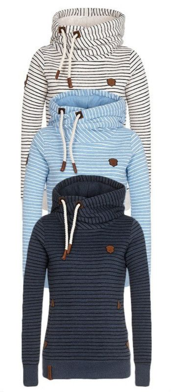 Striped Pattern Patchwork Thicken Hoodie Sweatshirt