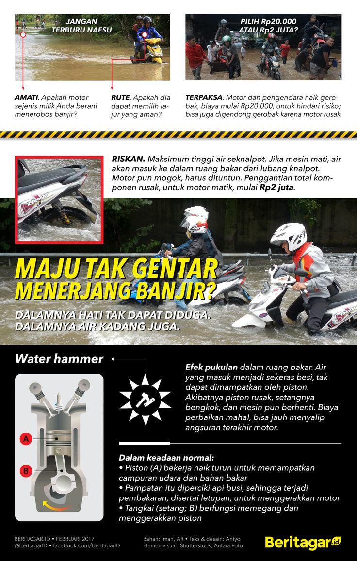 RISIKO | Untuk memperkecil kemungkinan terburuk, yakni motor rusak sehingga Anda harus mendorong jauh saat hujan dan banjir, cermatilah kiat sebelum meneruskan perjalanan.