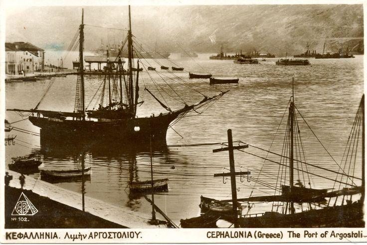 Καρτ-ποστάλ της Κεφαλλονιάς στις αρχές του 20ού αιώνα. / The port of Argostoli, Cephalonia, early 20th century.