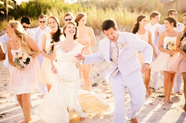 A perfect beachside wedding palate of soft shades of creams, sand, peach, pale pinks, blue and green.