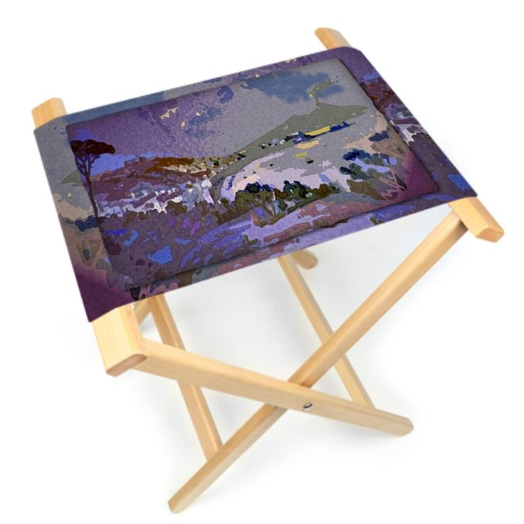 """Napoli/Panorama"" Folding Stool  - 48 x 34 cm, height 45 cm Sewing and hand-assembled Ideal for outdoor use"