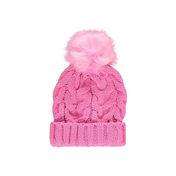 Bobble Tickled Pink Bobble Hat (545 RUB) ❤ liked on Polyvore featuring accessories, hats, bobble beanie, cable hat, fur hat, pink pom pom hat and faux-fur hat