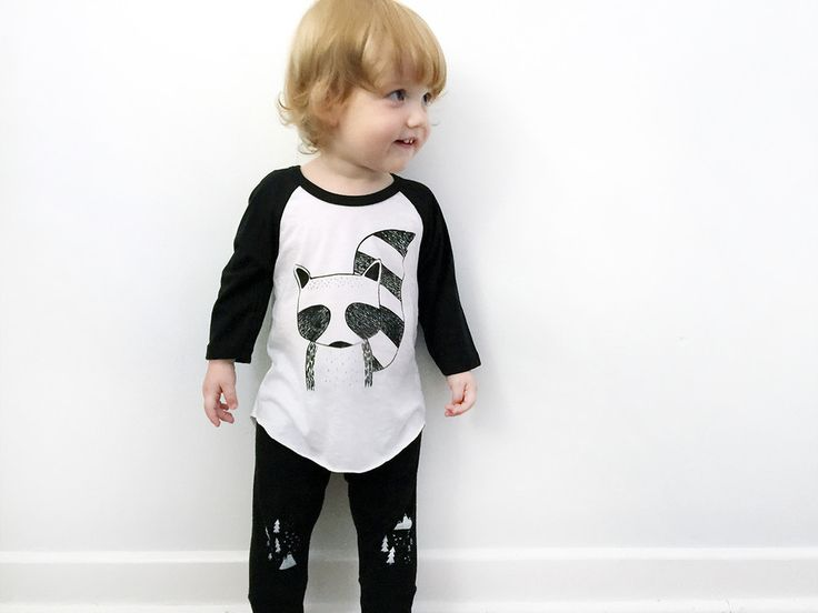 Modern Kids Black and White Unisex Baseball Tee - Rocky the Raccoon - Hand Printed Poly/Cotton Raglan by The Wild