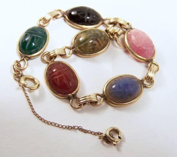 Vintage Carved Stone 6 Scarab Bracelet 12k by GretelsTreasures