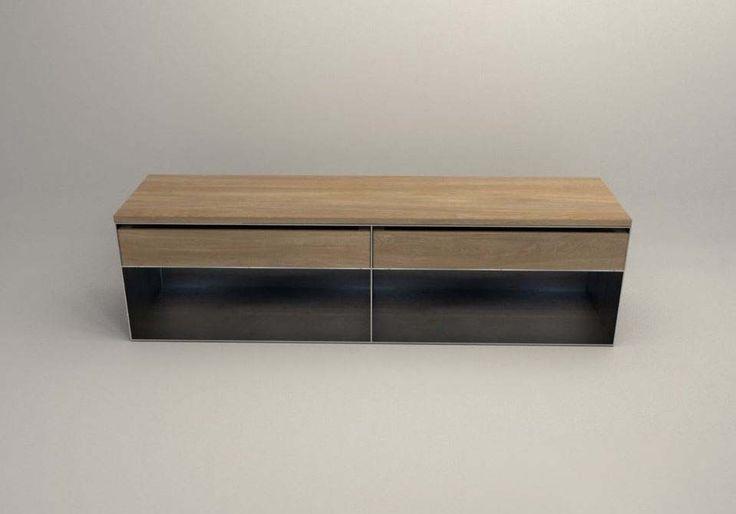 design stahlmoebel kaminholz sideboard multifunctional brennholzaufbewahrung aus stahl holz. Black Bedroom Furniture Sets. Home Design Ideas