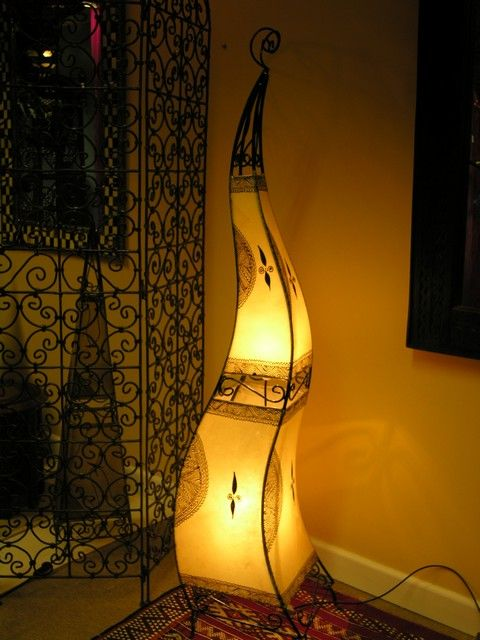 Moroccan tall curved henna lamp in natural. http://www.maroque.co.uk/showitem.aspx?id=ENT06488&s=20-30-195