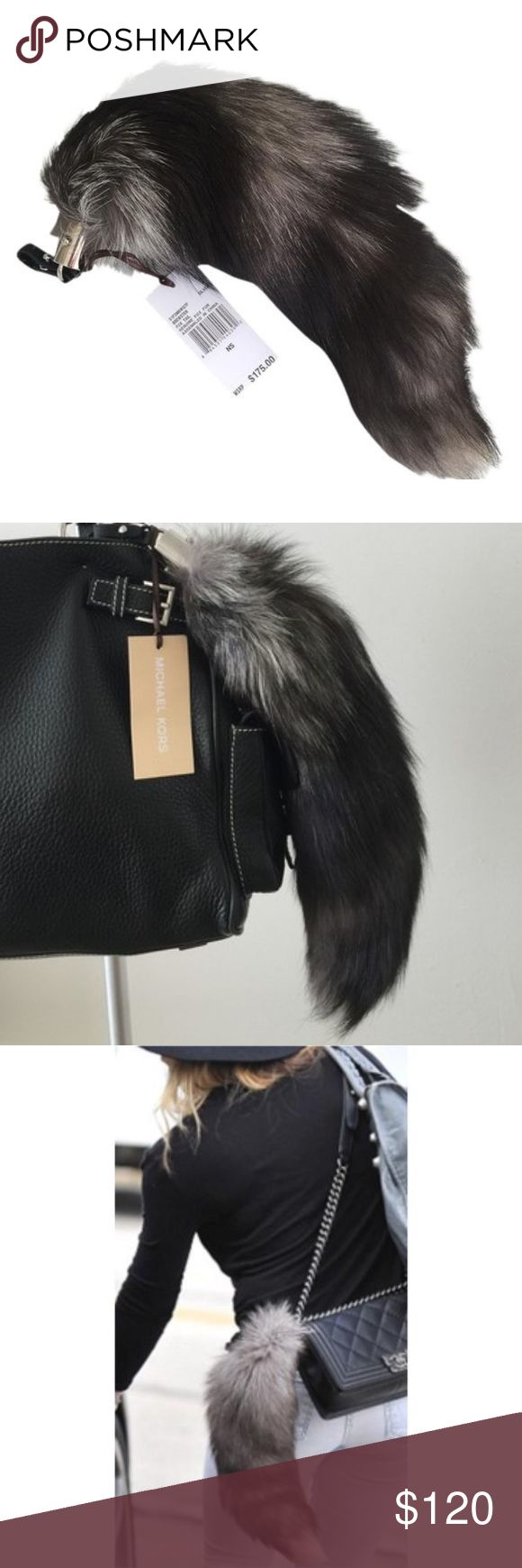 Michael Kors Brewster Fox Tail purse charm hangtag Natural coyote fox fur (USA). Leather loop at silver metal top. Imported. : Brand new with tags $175. No trades Michael Kors Bags Clutches & Wristlets