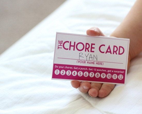 """10 Brilliant Ideas To Motivate Your Children To Do Chores:  #4 – Chore Coupons  (These """"chore rewards cards"""" are a great way to get your children to interact with you & perform their responsibilities.  Based off of the """"punch card"""" rewars system, eact time your child completes a chore, or their chores for the day, whichever you choose, you can use a hole-punch to mark the chores as complete.  Wehen the card is full, they receive a reward!)"""