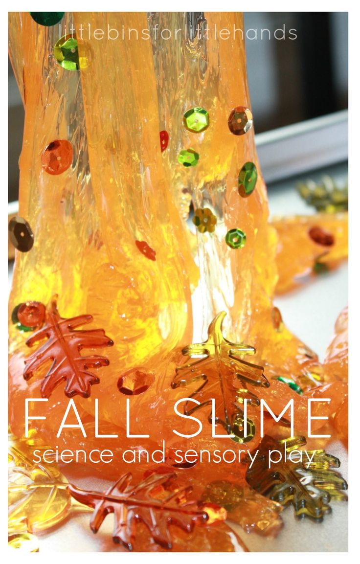 Fall Slime Recipe Easy Sensory Play. Slime science activity. Fall sensory play for kids.