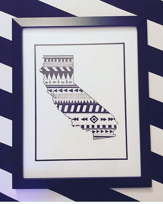 Custom California state art.  Hand drawn. Made to order. Pen and ink.  #zentangle #stateart #penandink #art #artwork  #blackandwhite #illustration #drawing #wallart #california #tribalart #tribaldesigns