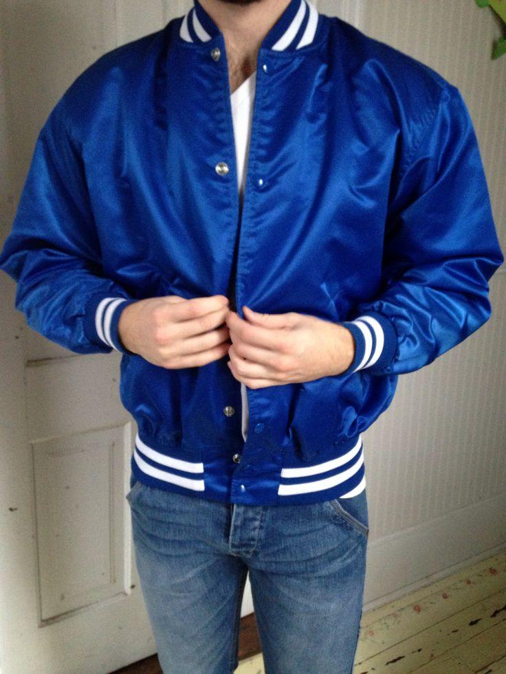 Men's cobalt blue satin sports bomber jacket Bomber