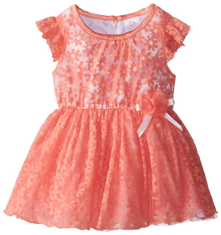 Youngland Baby Girls Newborn Floral Burnout Dress Coral