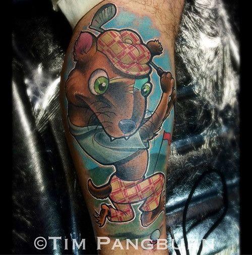 What A Goofy Little Golfer. Tattoo By Tim Pangburn