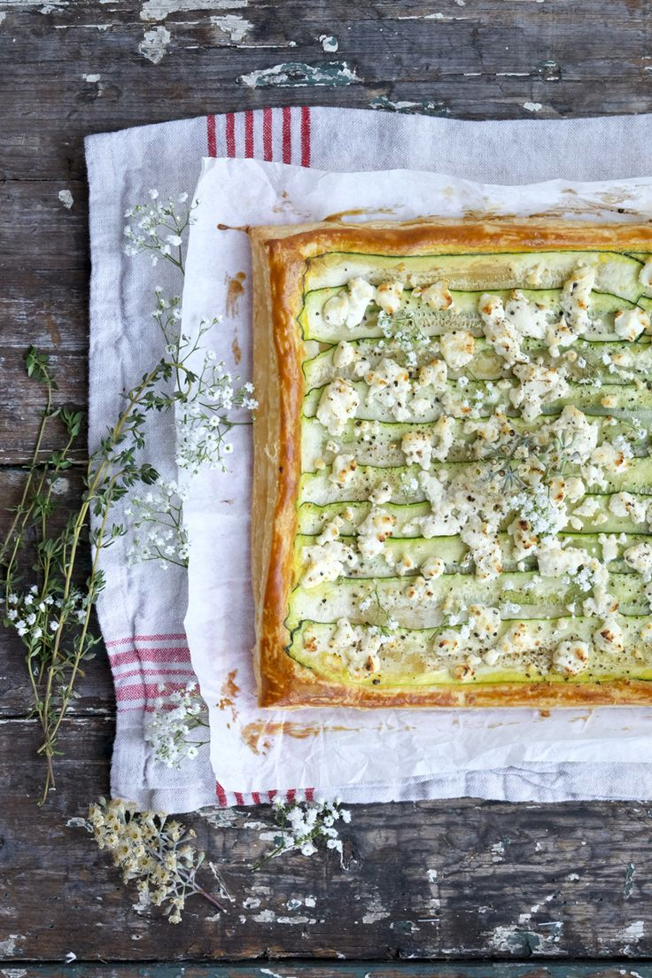 Rustic Goat Cheese and Zucchini Puff Pastry Tart