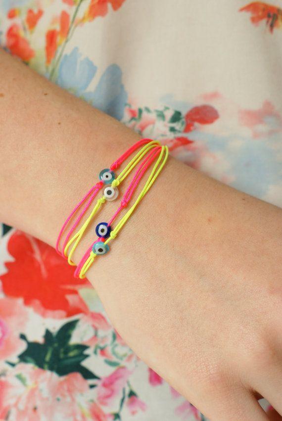 evil eye string bracelet / neon colors by Cestbonpourcquetas, $10.00