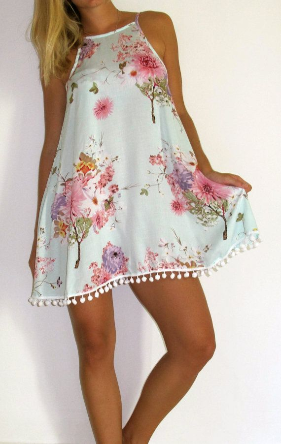 Ladies Swing Dress  Aqua Forest Print with Pink and by ljcdesignss, $36.00