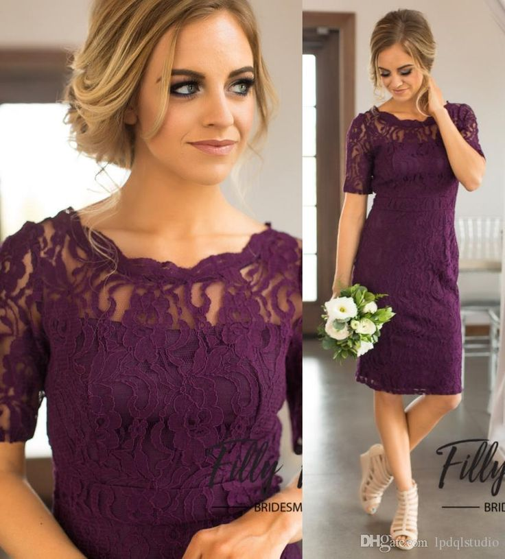 Grape Lace Bridesmaid Dresses 2017 New Knee-Length Country Bridesmaid Dresses Scoop Short Sleeves Zipper Back Wedding Party Dresses Cheap Bridesmaid Dresses Country Bridesmaid Dress Cheap Bridesmaid Dress Online with $89.0/Piece on Lpdqlstudio's Store   DHgate.com