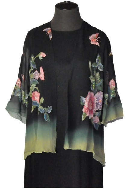Butterfly and Pink Rose Hand Painted Kimono Style Silk Jacket.  $129.00