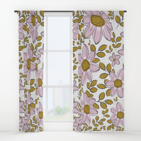 vintage flower pattern curtains