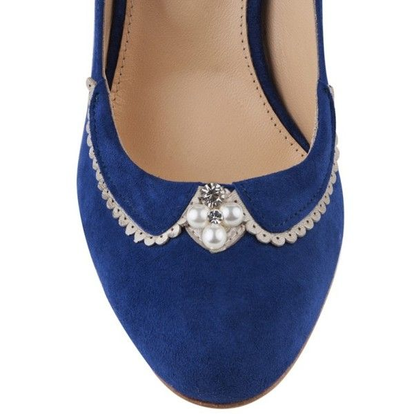 Catherine Royal Blue Suede ❤ liked on Polyvore featuring shoes, pumps, royal blue suede pumps, royal blue shoes, royal blue pumps, vintage pumps and suede shoes