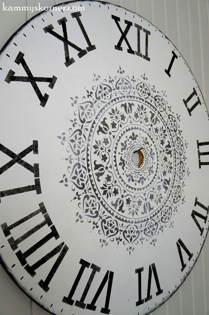 Learn how to stencil the Prosperity Mandala Stencil from Cutting Edge Stencils on a wooden faux wall clock. http://www.cuttingedgestencils.com/prosperity-mandala-stencil-yoga-mandala-stencils-designs.html