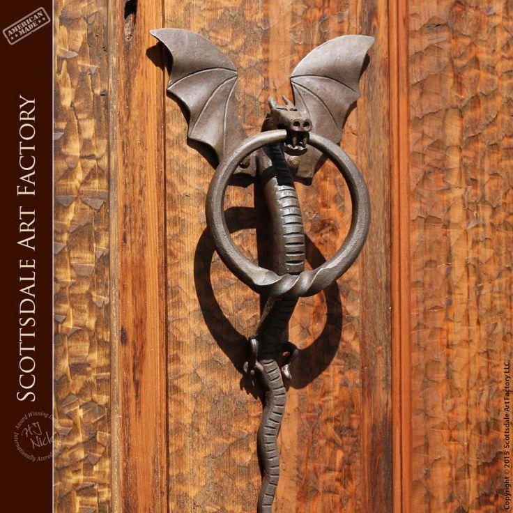 Iron Door Knocker   Dragon Door Knocker With Ring     Custom Door Hardware,  Solid Hand Forged Patina Finished Wrought Iron Dragon Design Door Knocker  With ...