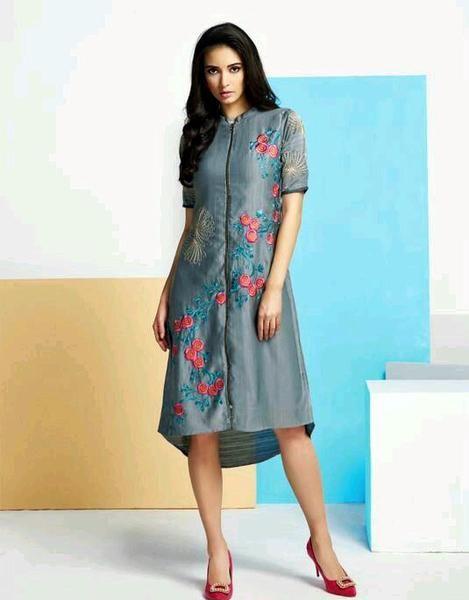 Partywear Grey High Low Style Silk Kurti With Floral Embroidered Work #kurtis&kurtas #designer kurtis available at ladyindia.com