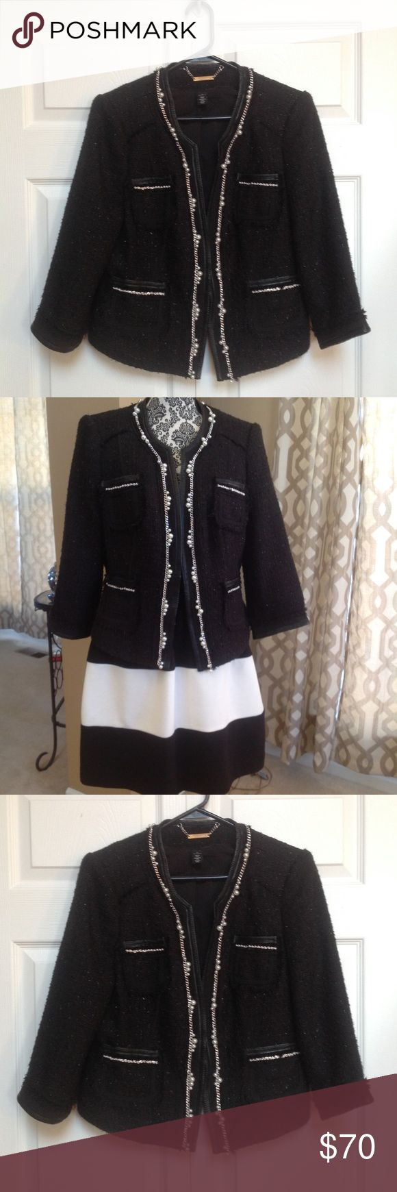 White house black market bejeweled jacket White house Black Market be jeweled short black . Has  hook closure bedazzled with pearls and silver chains with black shimmering fabric White House Black Market Jackets & Coats Blazers