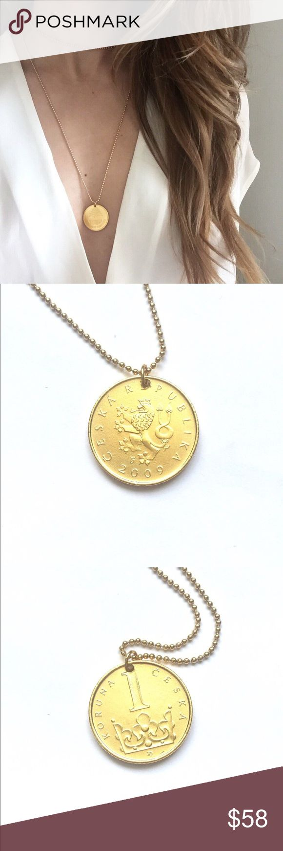 """Lovemyroots Czech Republic Gold Coin Necklace 32"""" long gold filled ball chain necklace with a gold dipped real coin as pendant. Lovemyroots Jewelry Necklaces"""