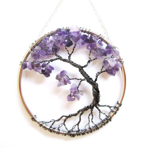 Améthyste fil arbre de vie, Tenture murale, Bonsai Purple Sun Catcher - petit