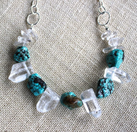 Natural Quartz Point and Turquoise howlite by SoulHealingCreations