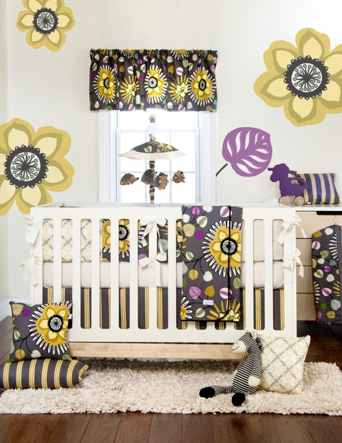 baby girl bedroom. like it all but the flowers on the wall