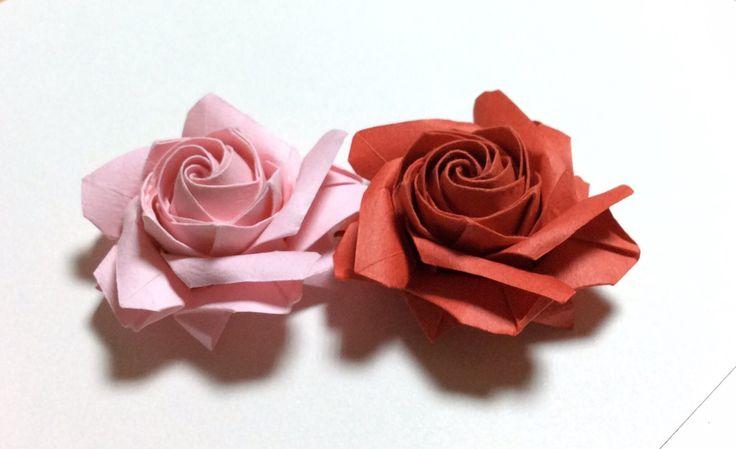 達人折りのバラの折り紙29 Only one origami rose29
