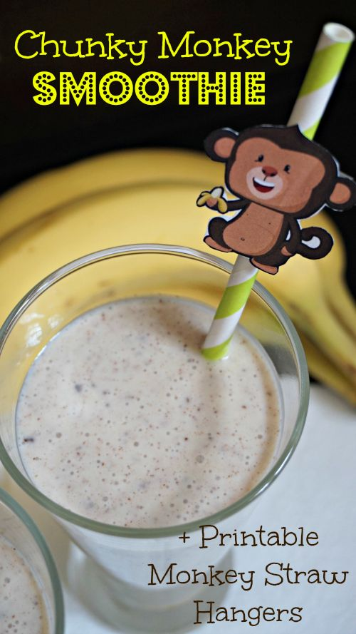 Chunky Monkey Smoothie Recipe + Printable Monkey Straw Hangers #MySmoothie #ad