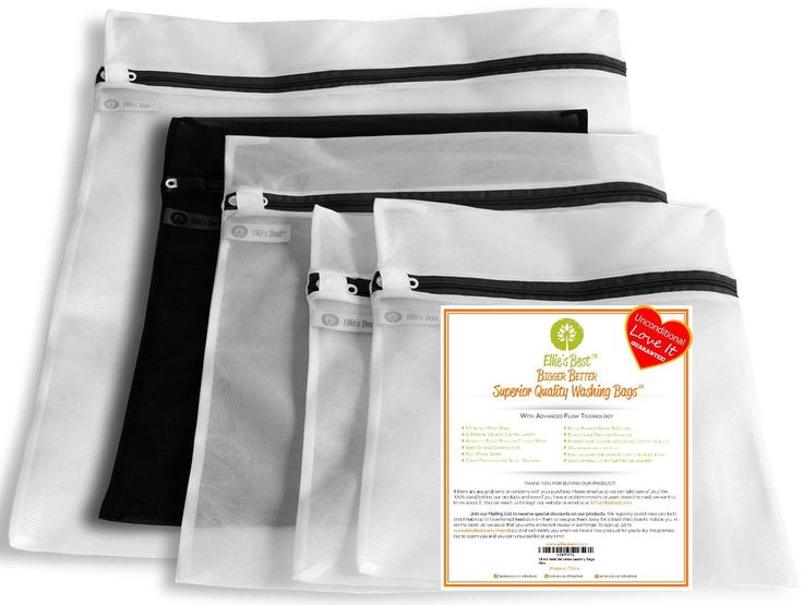 5 Delicates Washing Bags - Ellie's Best Lingerie Bag For Laundry - Stop Snagged Stretched & Tangled Stockings, Sweaters, Panties, Bras & Lingerie In The Wash & Dryer - Never Lose Another Sock!