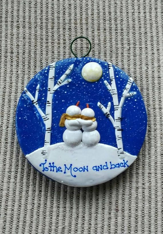 3 hand sculpted polymer clay round tree ornament. Hand painted detail.