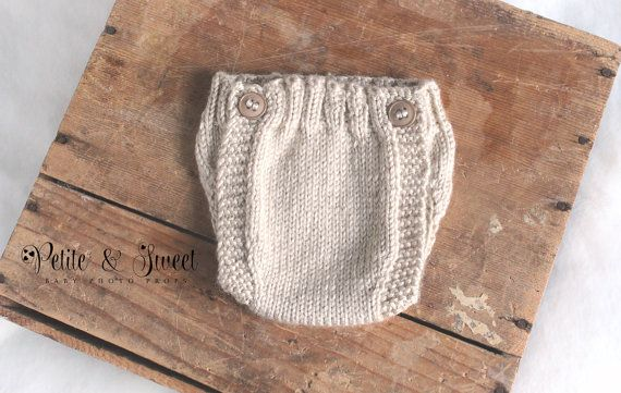 Newborn Button Knit Diaper Cover: Photography Prop/ Cream /Ready to Ship on Etsy, $25.00 CAD