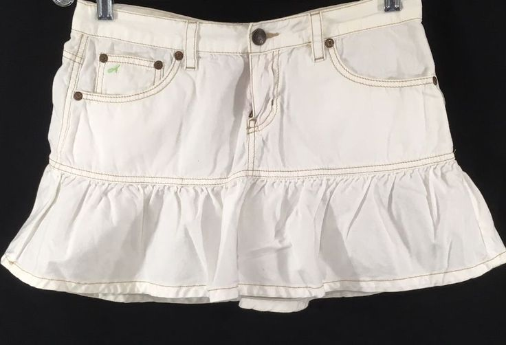 Aeropostale Juniors Denim Mini Skirt Sz 3/4 White Ruffled Trumpet Light Cotton #Aeropostale #Miniskirt #Trumpetskirt #whiterufflemini