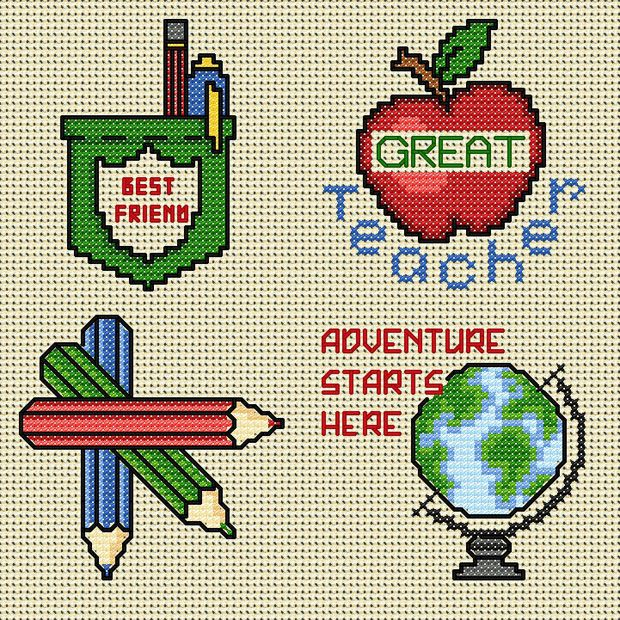 Free Cross Stitch Charts Pinterest | Maria Diaz Designs: Kids School Badges (Cross-stitch chart)
