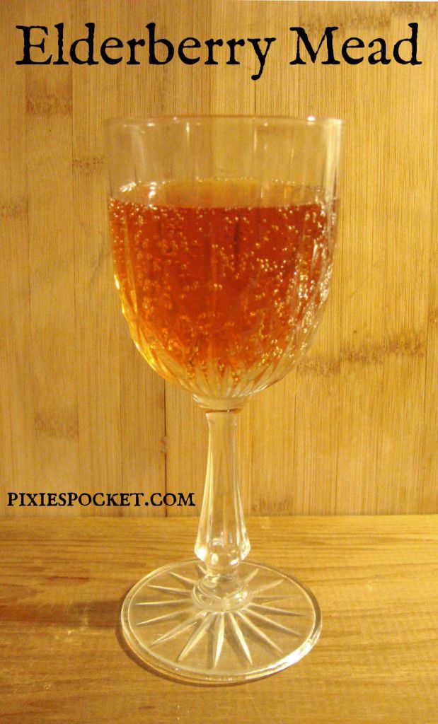 Recipe for Elderberry Mead (1 gallon) from Pixiespocket.com -- from dried elderberries so it can be made year round.