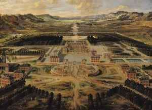 Perspective view of the Chateau, Gardens and Park of Versailles seen from the Avenue de Paris, 1668  Pierre Patel