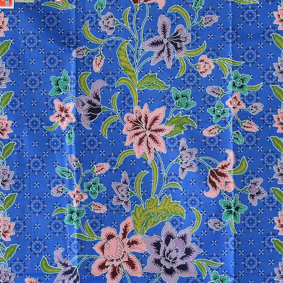 pink vintage flowers and blue cotton traditional by 18dec, $17.00