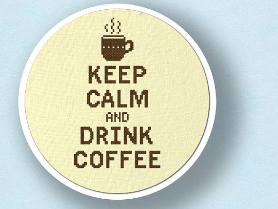Keep Calm and Drink Coffee Cross Stitch Pattern PDF by andwabisabi, $5.00