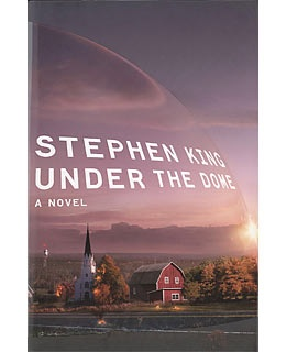 Under the Dome by Stephen King. I just started it...it's so huge that it's hard to read in bed!
