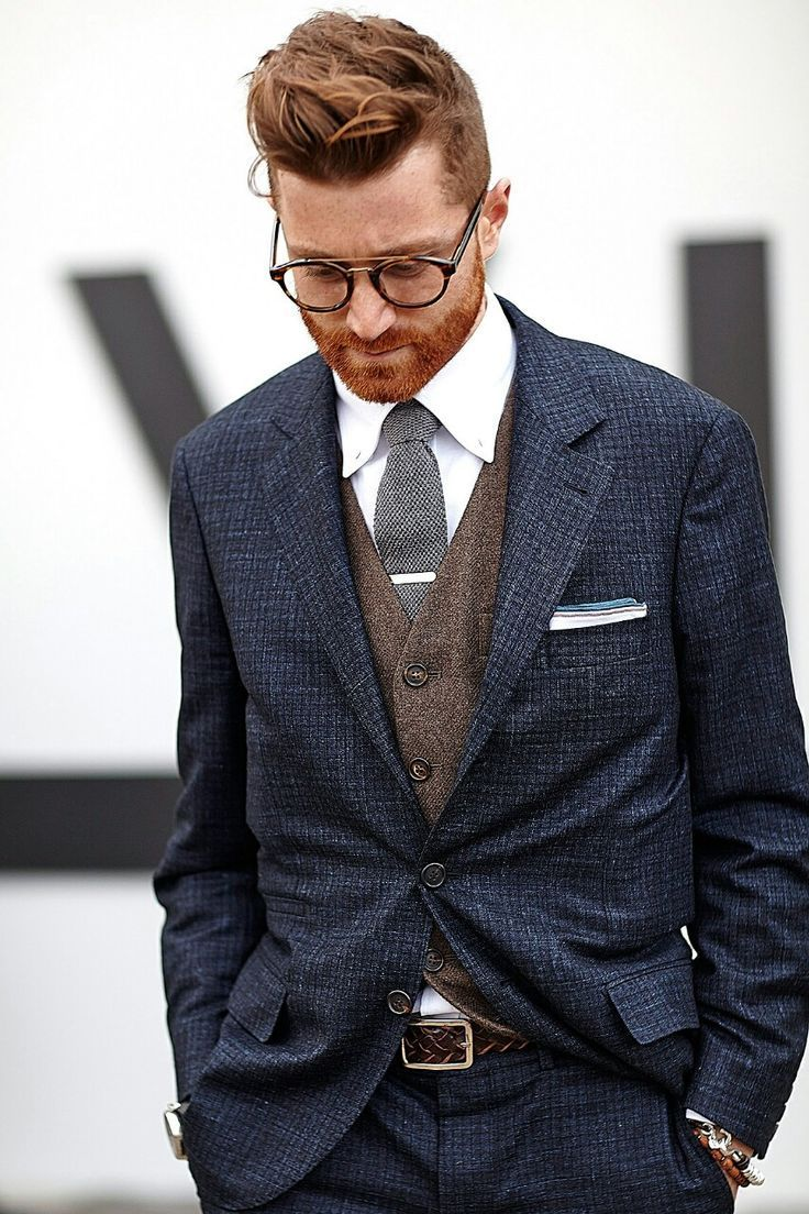 Shop this look on Lookastic:  http://lookastic.com/men/looks/dress-shirt-tie-waistcoat-suit-belt/8822  — White Dress Shirt  — Grey Wool Tie  — Brown Wool Waistcoat  — Navy Check Wool Suit  — Dark Brown Woven Leather Belt