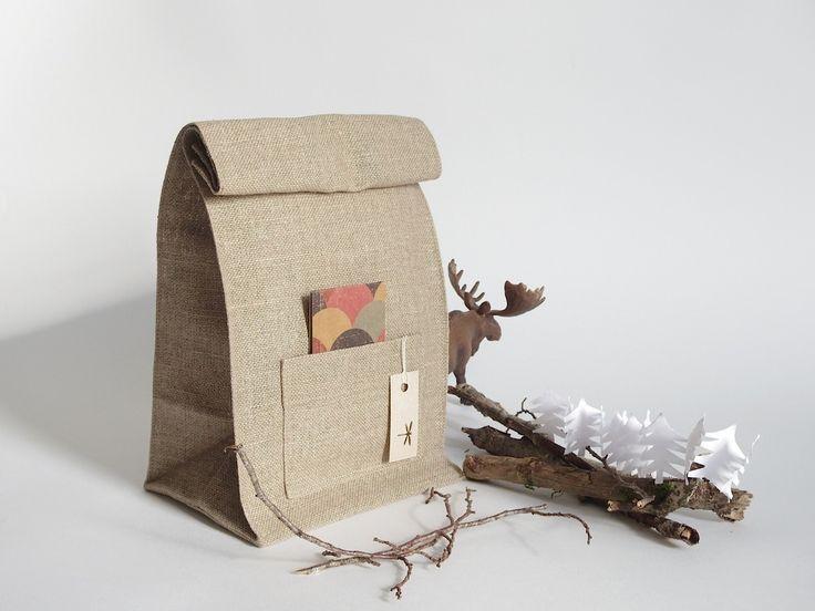 Lunch bag lin marron écossais, sac dejeuner idée cadeau de Noël, homme, femme : Autres sacs par sakamama
