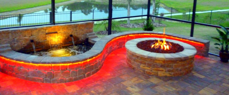 Gas Firepit With Waterfall And Lights Gardening Pinterest