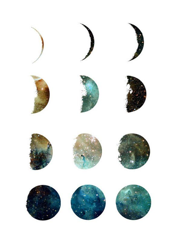 Galaxy moon phase print, moon prints, wall art, art prints, galaxy print, moon phases, home wall decor, modern print, moon poster, gift idea – Linda Freitag